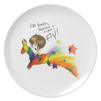 Rainbow Llama Party Plate