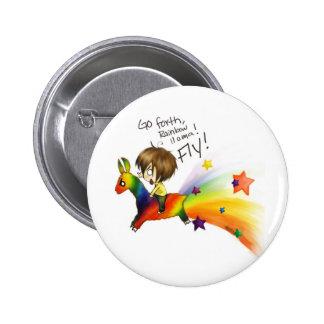 Rainbow Llama Pinback Button