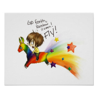 Rainbow llama! print