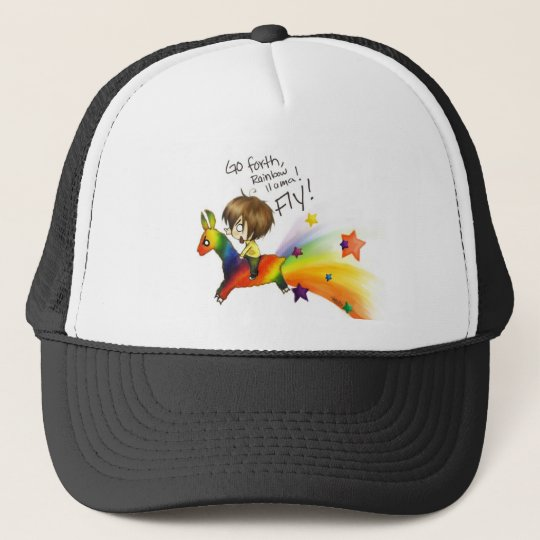 Rainbow Llama Trucker Hat