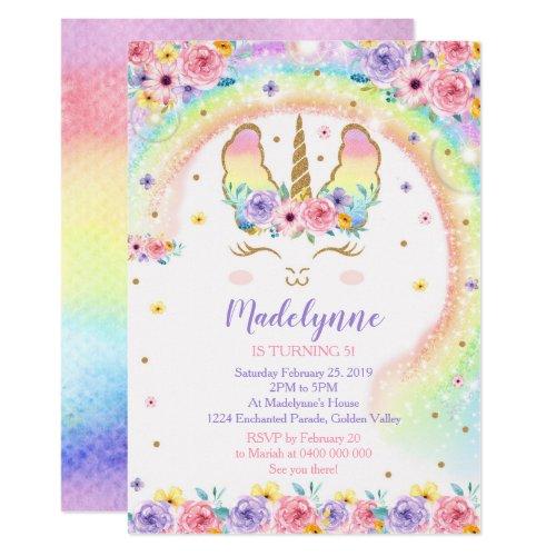 Rainbow Llamacorn Invitation - Llamacorn