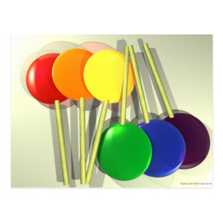 Rainbow Lollies Postcard