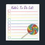 "Rainbow Lollipop Candy Personalized To Do List Notepad<br><div class=""desc"">List-style to do list checklist note pad design features an original marker illustration of a rainbow lollipop candy on a stick. Just personalize with your information. Lots of additional illustrated notepads are also available from this shop. This design is also available on other products. Don&#39;t see what you&#39;re looking for?...</div>"