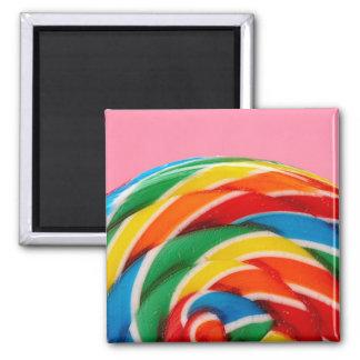 Rainbow Lollipop Close-Up 2 Inch Square Magnet
