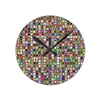 Rainbow 'Lollipop' Textured Mosaic Tiles Pattern Clock