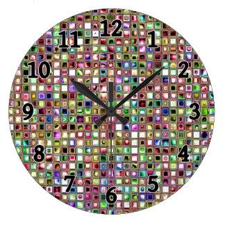 Rainbow 'Lollipop' Textured Mosaic Tiles Pattern Wallclock