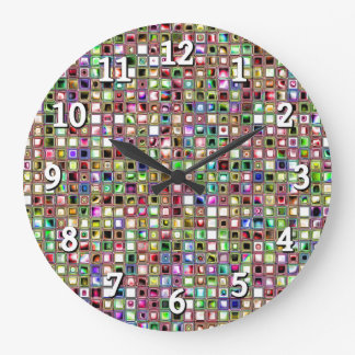 Rainbow 'Lollipop' Textured Mosaic Tiles Pattern Clocks
