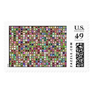 Rainbow 'Lollipop' Textured Mosaic Tiles Pattern Postage Stamps