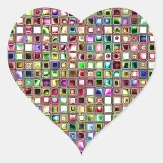 Rainbow 'Lollipop' Textured Mosaic Tiles Pattern Heart Stickers