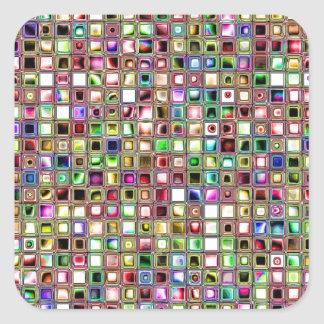Rainbow 'Lollipop' Textured Mosaic Tiles Pattern Square Sticker