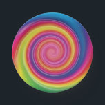 """Rainbow Lollypop Colorful swirl Paper Plate<br><div class=""""desc"""">Round colorful,  if you insert a toothpick,  pencil or other stick on its edge,  you get a novelty item.</div>"""