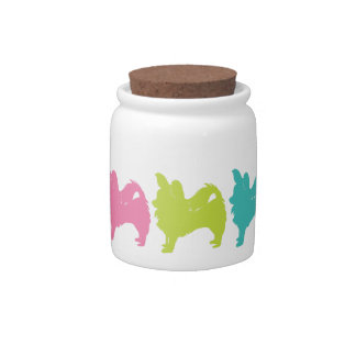 Rainbow Long Hair Chihuahua Treat Jar Candy Dish