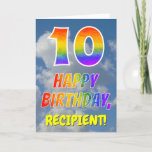 "[ Thumbnail: Rainbow Look ""10"" & ""Happy Birthday"", Clouds, Sky Card ]"