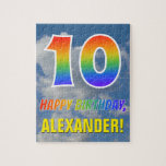 "[ Thumbnail: Rainbow Look ""10"" & ""Happy Birthday"", Cloudy Sky Jigsaw Puzzle ]"