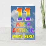 "[ Thumbnail: Rainbow Look ""11"" & ""Happy Birthday"", Clouds, Sky Card ]"