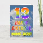 "[ Thumbnail: Rainbow Look ""13"" & ""Happy Birthday"", Clouds, Sky Card ]"