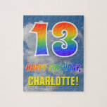 "[ Thumbnail: Rainbow Look ""13"" & ""Happy Birthday"", Cloudy Sky Jigsaw Puzzle ]"
