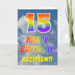 "[ Thumbnail: Rainbow Look ""15"" & ""Happy Birthday"", Clouds, Sky Card ]"