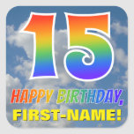 "[ Thumbnail: Rainbow Look ""15"" & ""Happy Birthday"", Clouds, Sky Sticker ]"