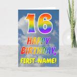 "[ Thumbnail: Rainbow Look ""16"" & ""Happy Birthday"", Clouds, Sky Card ]"