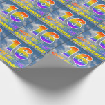 "[ Thumbnail: Rainbow Look ""16"" & ""Happy Birthday"", Clouds, Sky Wrapping Paper ]"