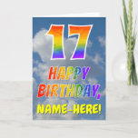 "[ Thumbnail: Rainbow Look ""17"" & ""Happy Birthday"", Clouds, Sky Card ]"