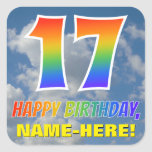 "[ Thumbnail: Rainbow Look ""17"" & ""Happy Birthday"", Clouds, Sky Sticker ]"