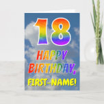 "[ Thumbnail: Rainbow Look ""18"" & ""Happy Birthday"", Clouds, Sky Card ]"