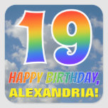 "[ Thumbnail: Rainbow Look ""19"" & ""Happy Birthday"", Clouds, Sky Sticker ]"