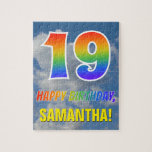 "[ Thumbnail: Rainbow Look ""19"" & ""Happy Birthday"", Cloudy Sky Jigsaw Puzzle ]"