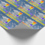 "[ Thumbnail: Rainbow Look ""1"" & ""Happy Birthday"", Clouds, Sky Wrapping Paper ]"