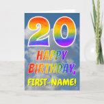 "[ Thumbnail: Rainbow Look ""20"" & ""Happy Birthday"", Clouds, Sky Card ]"