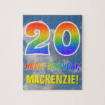 "[ Thumbnail: Rainbow Look ""20"" & ""Happy Birthday"", Cloudy Sky Jigsaw Puzzle ]"