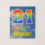"[ Thumbnail: Rainbow Look ""21"" & ""Happy Birthday"", Cloudy Sky Jigsaw Puzzle ]"