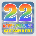 "[ Thumbnail: Rainbow Look ""22"" & ""Happy Birthday"", Clouds, Sky Sticker ]"