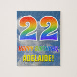 "[ Thumbnail: Rainbow Look ""22"" & ""Happy Birthday"", Cloudy Sky Jigsaw Puzzle ]"