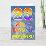 "[ Thumbnail: Rainbow Look ""23"" & ""Happy Birthday"", Clouds, Sky Card ]"