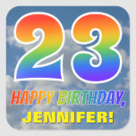 "[ Thumbnail: Rainbow Look ""23"" & ""Happy Birthday"", Clouds, Sky Sticker ]"