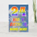 "[ Thumbnail: Rainbow Look ""24"" & ""Happy Birthday"", Clouds, Sky Card ]"