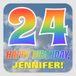 "[ Thumbnail: Rainbow Look ""24"" & ""Happy Birthday"", Clouds, Sky Sticker ]"