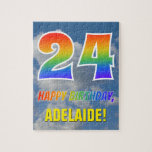 "[ Thumbnail: Rainbow Look ""24"" & ""Happy Birthday"", Cloudy Sky Jigsaw Puzzle ]"