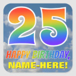 "[ Thumbnail: Rainbow Look ""25"" & ""Happy Birthday"", Clouds, Sky Sticker ]"