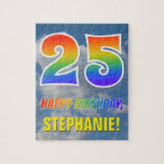 "[ Thumbnail: Rainbow Look ""25"" & ""Happy Birthday"", Cloudy Sky Jigsaw Puzzle ]"