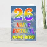 "[ Thumbnail: Rainbow Look ""26"" & ""Happy Birthday"", Clouds, Sky Card ]"
