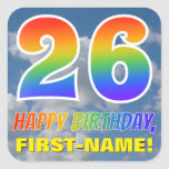 "[ Thumbnail: Rainbow Look ""26"" & ""Happy Birthday"", Clouds, Sky Sticker ]"