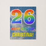 "[ Thumbnail: Rainbow Look ""26"" & ""Happy Birthday"", Cloudy Sky Jigsaw Puzzle ]"