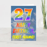"[ Thumbnail: Rainbow Look ""27"" & ""Happy Birthday"", Clouds, Sky Card ]"