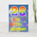 "[ Thumbnail: Rainbow Look ""28"" & ""Happy Birthday"", Clouds, Sky Card ]"