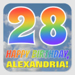 "[ Thumbnail: Rainbow Look ""28"" & ""Happy Birthday"", Clouds, Sky Sticker ]"