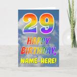 "[ Thumbnail: Rainbow Look ""29"" & ""Happy Birthday"", Clouds, Sky Card ]"